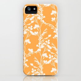 Floral Archive - Botanical Cut Out - Off White on Mango Orange iPhone Case