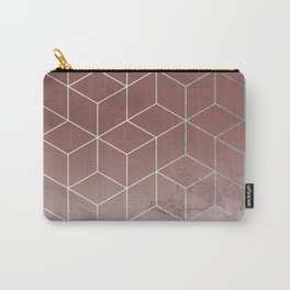 Geometric Cubes Deep Pink on Marble Carry-All Pouch