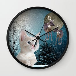 White Cat and Reindeers Wall Clock