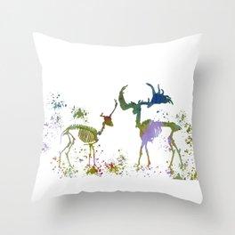Deer Skeletons Throw Pillow