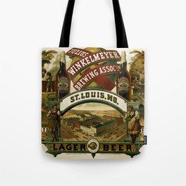 Vintage 1880 Julius Winkelmeyer Brewing Association Lithograph Wall Art Advertisement Tote Bag