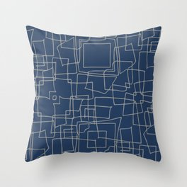 Decorative blue and grey abstract squares Throw Pillow