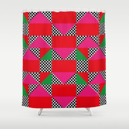 Houses with a Red Body and a Pink Roof, in a dotted synthetic grass. Shower Curtain