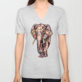 elephant line style - elefante - éléphant Unisex V-Neck