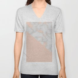 Rose gold marble and soft blush pink Unisex V-Neck