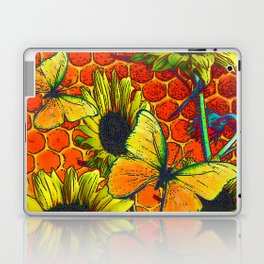 ORANGE-YELLOW BUTTERFLIES & SUNFLOWERS ARTISTIC HONEYCOMB DRAWING Laptop & iPad Skin
