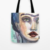 jane davenport Tote Bags featuring Frida Forever by Jane Davenport by Jane Davenport