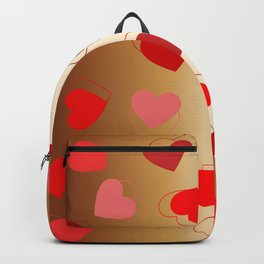 Double hearts on bronze Backpack