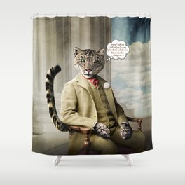 Sir Sebastian Snow Leopard Shower Curtain
