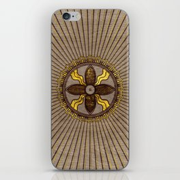 Seal of Shamash - Wood burned with gold accents iPhone Skin