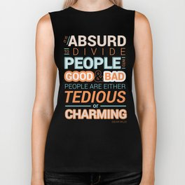 Oscar Wilde Charming Quote Poster Biker Tank