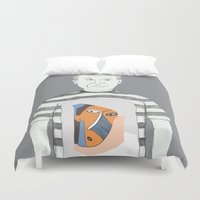 pablo picasso Duvet Covers featuring Pablo Picasso portrait by Irene LoaL