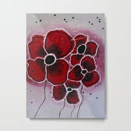 Red Flowersa abstract painting Metal Print