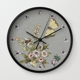 spring flowers with butterfly and beetles I Wall Clock