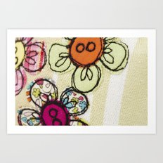 Embroidered Flowers Green Art Print