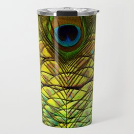 GREEN-YELLOW PEACOCK FEATHERS ART DESIGN Travel Mug