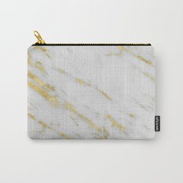 Marble - Shimmery Gold Marble on White Pattern Carry-All Pouch