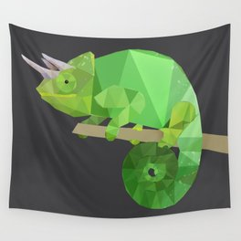 Low Poly Chameleon Wall Tapestry