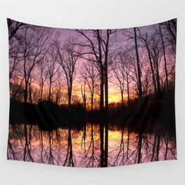 Sunset Beyond The Trees Wall Tapestry