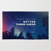 "pocketfuel Area & Throw Rugs featuring CS Lewis ""Better Things Ahead"" by Pocket Fuel"