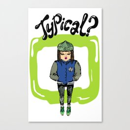 Illustration for t-shirt with girl in sneakers and college jacket Canvas Print
