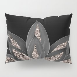 Gray Black Agave with Rose Gold Glitter #1 #shiny #tropical #decor #art #society6 Pillow Sham