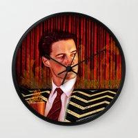 twin peaks Wall Clocks featuring Twin Peaks  by Magdalena Almero