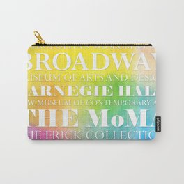 New York Arts - white text on color Carry-All Pouch