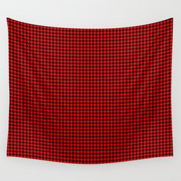 Large Red Devil and Black Hell Hounds Tooth Check Wall Tapestry