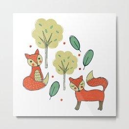 Woodland Foxes Metal Print