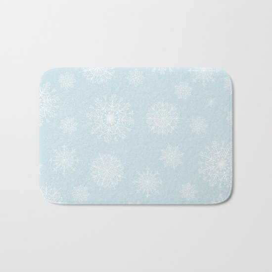 Assorted White Snowflakes On Light Blue Background Bath Mat