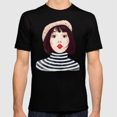 French woman Mens Fitted Tee SMALL Black
