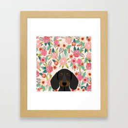 Dachshund floral dog head cute doxie must have pure breed weener dog gifts Framed Art Print