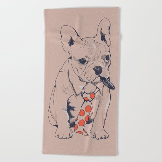FRENCH BULLDOG BOSS Beach Towel