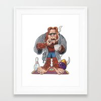 lebowski Framed Art Prints featuring Bigfoot Lebowski by Eli Wolff