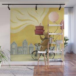 Bear on a Bike Illustration Wall Mural