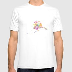 Typographic Alaska - Multi Watercolor print White Mens Fitted Tee MEDIUM