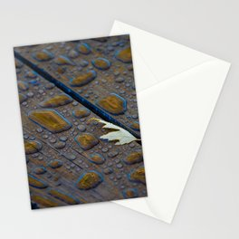 One leaf with reflections in water droplets on deck Stationery Cards