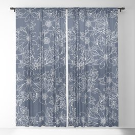 Artistic hand painted navy blue white modern floral Sheer Curtain