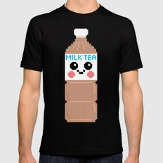 Happy Pixel Milk Tea Mens Fitted Tee Black MEDIUM