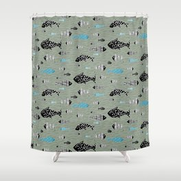 Fish Folk Fishes Texture Pattern Shower Curtain