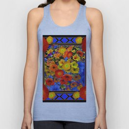 BLUE ABSTRACT OF POPPIES & YELLOW PETUNIA FLOWERS Unisex Tank Top