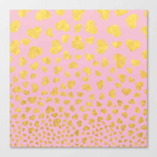Golden hearts falling from heaven- Gold glitter heart on pink Canvas Print
