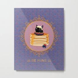 Black Cat Blueberry Pancake Valentine Metal Print