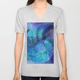 Blue Nautilus Shell  - Seashell Art By Sharon Cummings Unisex V-Neck