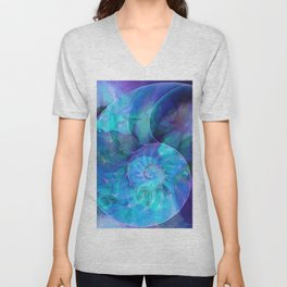 Blue Nautilus Shell  - Seashell Art By Sharon Cummings Unisex V-Neck