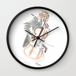 Cello Player Musician Expressive Drawing Wall Clock