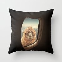 lama Throw Pillows featuring QUÈ PASA? by Monika Strigel