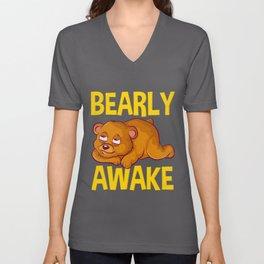 Bearly Awake Half Asleep Baby Bear Cub Pun Unisex V-Neck