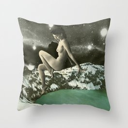 Winter skinny dippin Throw Pillow
